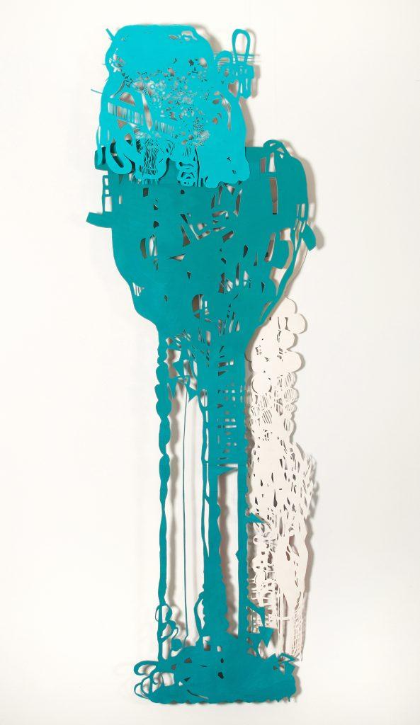 Acrylique et gouache sur papier découpé, 210 x 80 cm, 2007